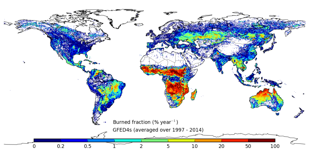 Global map of GFED4s burned fraction (averaged over 1997-2014)
